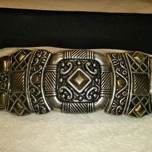 Vtg Chico's silver buckle black leather belt small